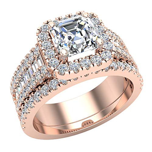 (Asscher Cut Center Diamond Cushion Halo Wedding Ring Set 1.56 carat total weight 14K Rose Gold (Ring Size 8))