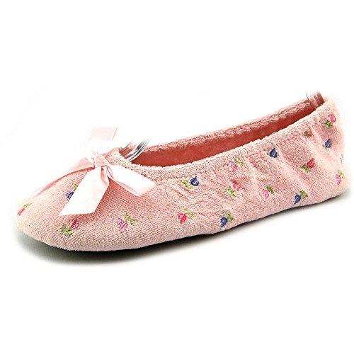 ISOTONER Womens Embroidered Terry Ballerina Slipper, Pink, Large