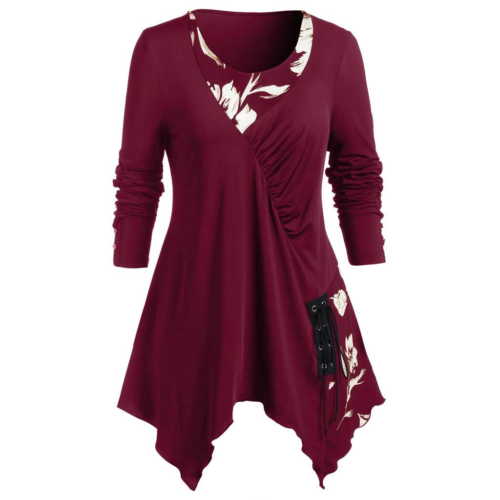 Womens Plus Size Tops Casual Round Neck Plaid Patchwork Button Lace-up Long Sleeve Tunic Blouse