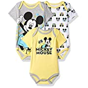 Disney Baby Boys' Mickey Mouse 3 Pack Bodysuits, Multi/Yellow, 6/9 M