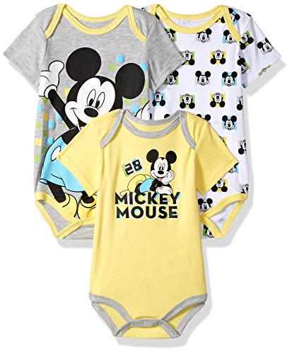 Disney Baby Boys' Mickey Mouse 3 Pack Bodysuits, Multi/Yellow, 12M