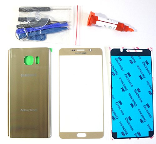 (md0410) Gold Front Outer Glass Lens Screen + Back Battery Door Housing Cover Replacement for Galaxy Note 5 N9200 N920 Adhesive Tools 5ml UV LOCA Glue (LCD & Digitizer not included) - Galaxy S4 Screen Replacement Gold