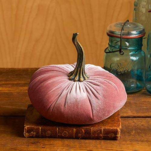 (Large Velvet Pumpkin Blush, Handmade Home Decor, Wedding, Holiday Mantle Decor, Centerpiece, Fall, Halloween, Thanksgiving)