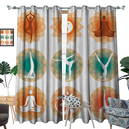 (RenteriaDecor Yoga Patterned Drape for Glass Door Different Yoga Positions Asian Physical Mental Spiritual Practice Philosophy Design Waterproof Window Curtain W108 x L96 Multicolor )