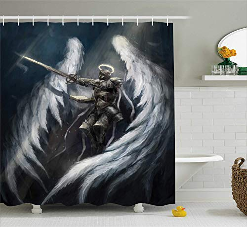 Nyngei Fantasy Shower Curtain Angel Knight with Majestic Wings Ancient Superior Power Imagination Art Print Cloth Fabric Bathroom Decor Set with Hooks 70.8x70.8in Long Silver White