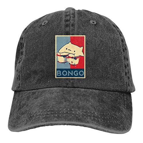 Cowboy Hat Adjustable Vintage Washed Denim Baseball Cap Cute Bongo Cat Dad Hat Trucker Cap ()