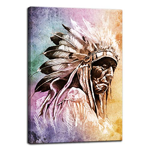 (American Indians Printing Art Canvas Paintings Printing Poster Photos Flower Wall Art Picture for Living Room Self Portrait Home Decor Artwork Wooden Framed Ready to Hang (16''Wx24''H, Artwork-07))