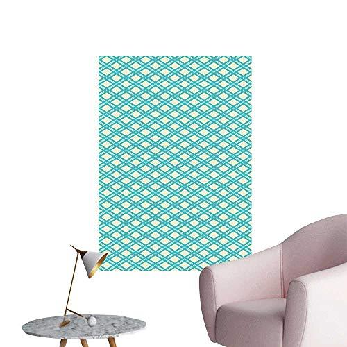 (Geometric Waterproof Art Wall Paper Poster Diagonal and Blue Stripes Rhombus Abstract Modern Ornamental Pattern Corridor Walkway Wall Turquoise Pale Yellow W20 x H28)