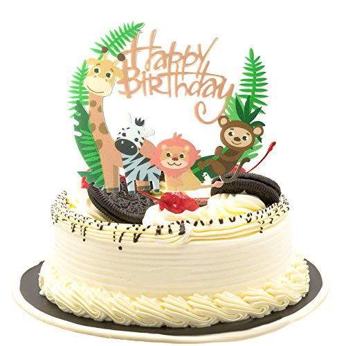 (Cute Animal Theme Happy Birthday Acrylic Cake Topper for Baby Birthday Shower)