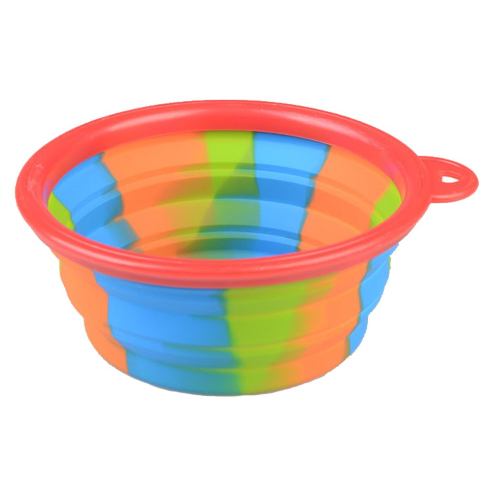Collapsible Travel Dog Bowl, 5  Diameter Silicone Water Food Travel Pet Bowl for Dogs and Cats Red Border