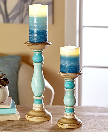 The Lakeside Collection 4-Pc. LED Candle & Holder Set- Blue]()