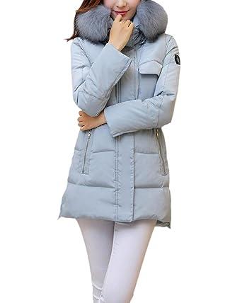 SaiDeng Abrigo De Invierno con Capucha para Esquí Senderismo Acampada para Mujer Ligero Térmico Gris Azul 2XL: Amazon.es: Ropa y accesorios