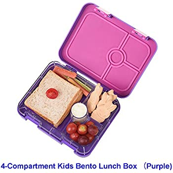 SAMROG Kids Bento Lunch Box Container, BPA-Free, Leakproof, Easy to use for young children (4-compartment, purple)