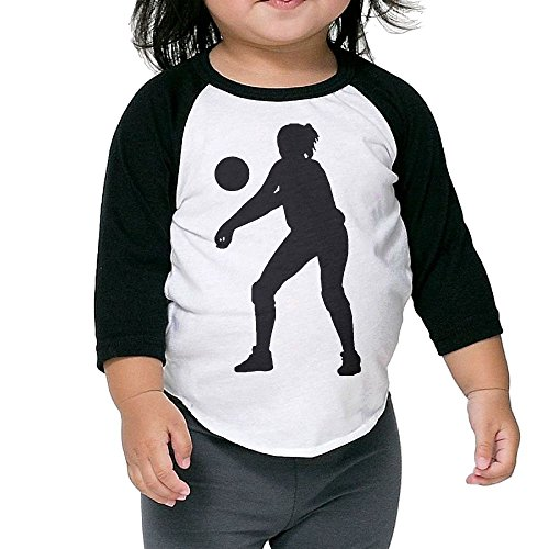 Classical Volleyball Kid's Sleeve Raglan Clothes Unisex 5-6 Toddler (Volleyball Wilson Costume)