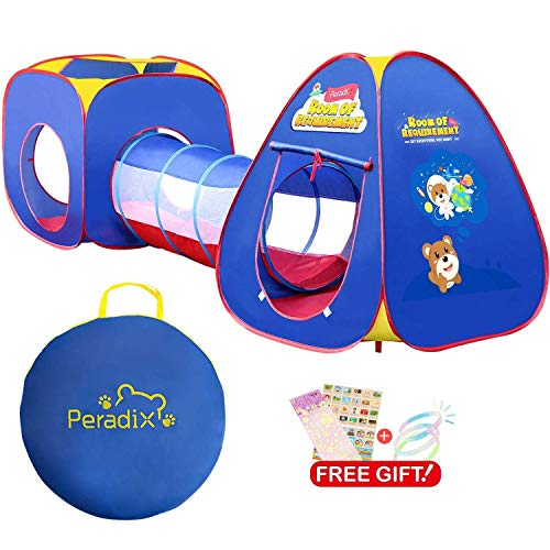 Peradix Tunnel e Casetta Tenda da Gioco,3 in 1 Pop Up di Tenda e Tunnel da Gioco Bambini Tenda Giocattolo Tunnel Bambino Ball Pool per Bambini,Tenda da Gioco per Bambini Indoor / Outdoor
