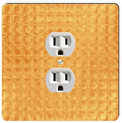 Rikki Knight Grunge Amber Squares Single Outlet Plate