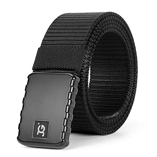 JASGOOD Men's Nylon Military Style Casual Army Outdoor Tactical Webbing Buckle Belt (waist size below 40 inch, 11-Black Flat Buckle)