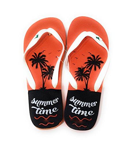 Chanclas de Hombre para la Ducha, Piscina y Playa en Verano, Varios Modelos y Colores Palmera Naranja, Correa Blanca