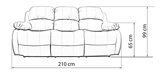 Piel auténtica Bari 3 plazas sistema reclinable para sofá o ...