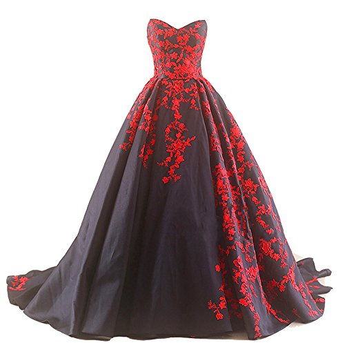Kivary Gothic Black Satin and Red Lace V Neck A Line Long Prom Wedding Dresses US 16