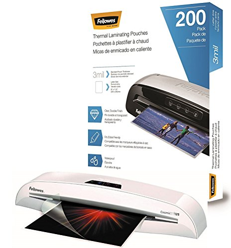 Fellowes Cosmic 2 125 Home Office Craft Laminator with 200 Letter-Size 3mil Laminating Pouches (Pouches 125 Laminator)