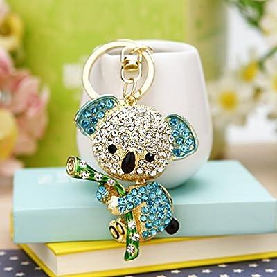 Small Cute Koala Sloth Gift Key Ring Full Inlaid Iuxury Car Key Chain Pendant (Blue) -