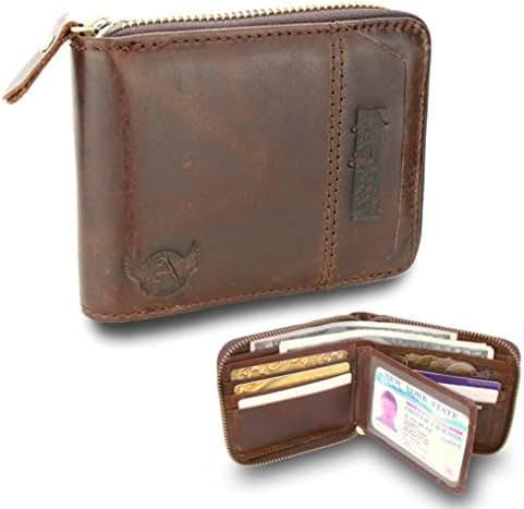 Christmas gifts Admetus Men's Genuine Leather Short Zip-around Bifold Wallet