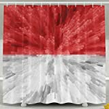 Shower Curtain,Waterproof Polyester Shower Curtain Sets For Men/Women,Special Design Indonesia Flag