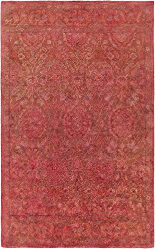 Pillager Updated Traditional Farmhouse 2' x 3' Rectangle Traditional 100% Wool Rust/Camel/Rose Area Rug