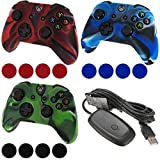 AFUNTA New 3Pcs Xbox360 Controller Silicon Protective Skin Case Cover & grip stick caps for Xbox One & Wireless Pc Usb Gaming Receiver for Xbox 360/xbox360