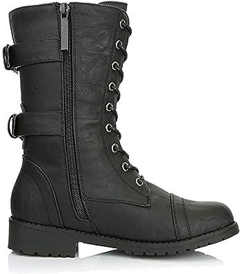 Chaussures femme Bottines à Lacets Matelassé Femme Rétro Militaire Combat Pointure 3-8