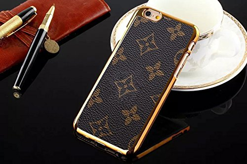 Luxury Famous Fashion New Grid Leather Hard Back case Cover for All iPhone 4 5 6 c SE s Plus LV6 (Flowers for iPhone 6 6s - Fashion Grid