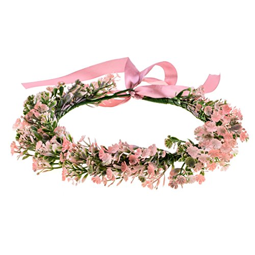 DreamLily Wedding Flower Crown Boho Bridal Flower Wreath Ivory Babies Breath Hair Crown Headpiece NC09 (B-Pink)