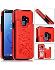 Back Wallet Case for Samsung Galaxy S9 with Stand,QFFUN Elegant Embossed Design [Butterfly Flower] Lightweight Slim Fit Leather Phone Case with Card Holder Protective Bumper Flip Cover - Red