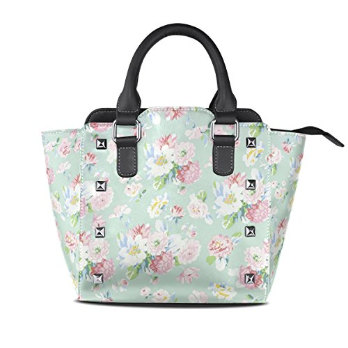 Tote Shoulder Field Handbags Flowers TIZORAX Of Bags Women's Leather nOT1gSxqR