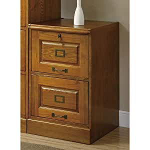 Coaster Home Furnishings  Modern Traditional Wood Two Drawer Vertical Letter Legal File Cabinet with Lock - Warm Honey