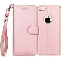 FYY iPhone 6S Plus Flip Folio Leather Wallet Case with ID & Credit Card Pockets (Pink)