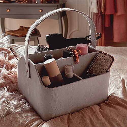 Beautify Organisateur de produits cosm/étiques Mallette /À maquillage en velours gris pour Bijoux Dressing Coiffeuse Organiseur rangement Panier 5 compartiments et Poign/ée de transport