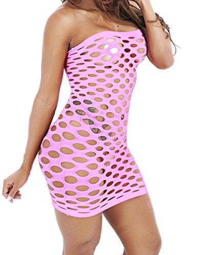 Women's Sexy Light Neon Queen Tube Seamless Mesh Hole Mini Dress (Pink) -