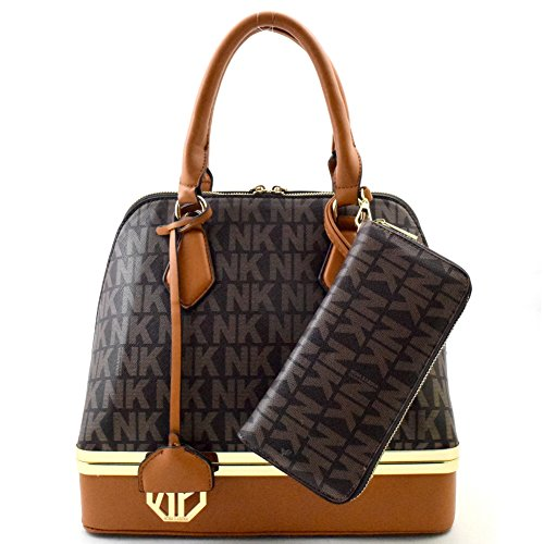 "'nina Karina"" Nk Signature Bottom Compartment Dome Satchel Set Brown"