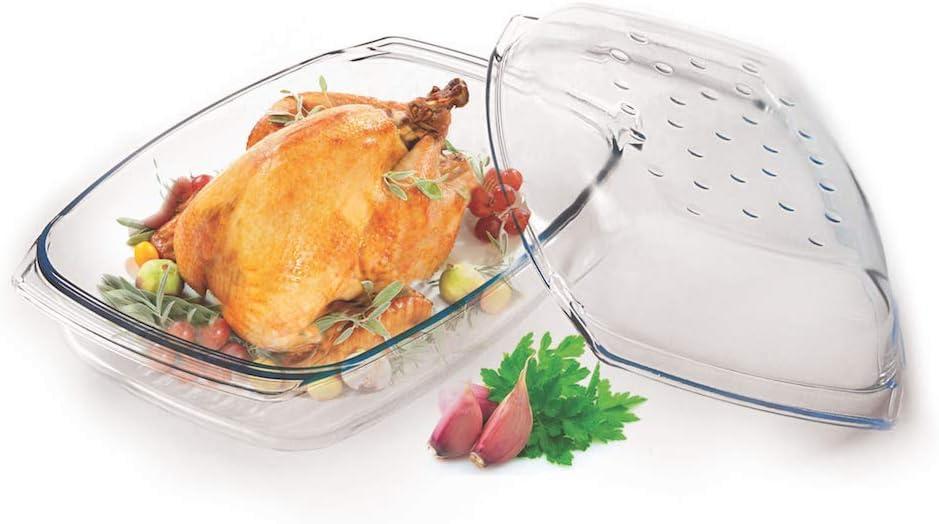 Cocotte en verre 4,1/l avec couvercle plat en verre Cocotte cuisson Bol Drop Syst/ème Verre fabriqu/é en UE
