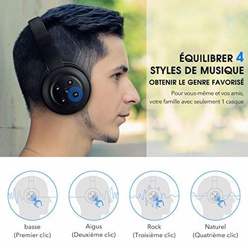 Mpow M2 Micro Casque Audio Bluetooth sans Fil ,Wireless Stéréo Casque Supra-Auriculaire Téléphone/PC Casque Anti Bruit avec 4 Modes d'Effets Audio ( Basse, Aigu, Rock,Natural), 20 Heures de Musique high-quality