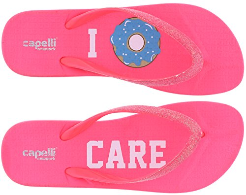 Ladies Trim Capelli Pink Flops York Fine Fashion Flip Neon Glitter New qw8EwaR