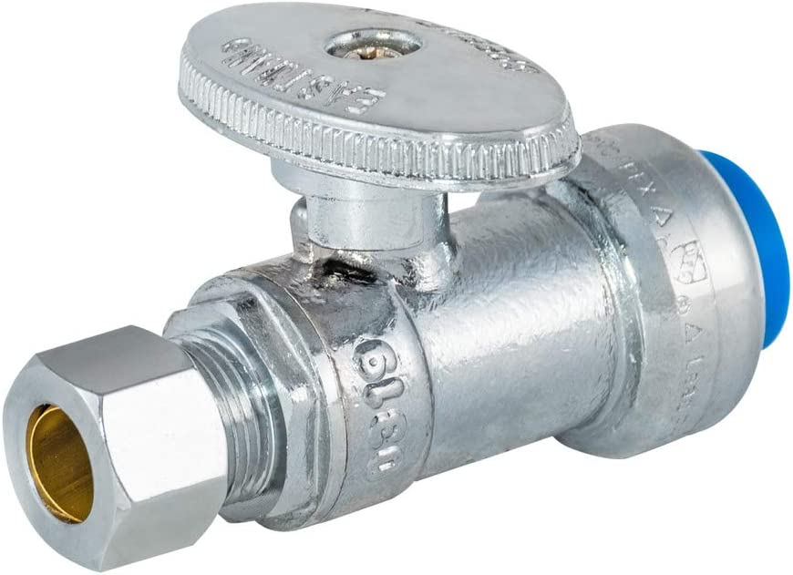 Eastman 10776 Push-Fit Straight Stop Valve, 3/8 inch OD x 1/2 inch Nom, Chrome