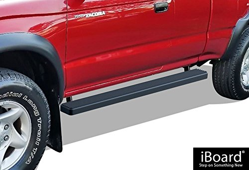 APS iBoard Running Boards (Nerf Bars | Side Steps | Step Bars) for 1995-2004 Toyota Tacoma Extended/Xtra Cab Pickup 2-Door (4WD Or Prerunner 2/4WD) | (Black Powder Coated 4 inches)