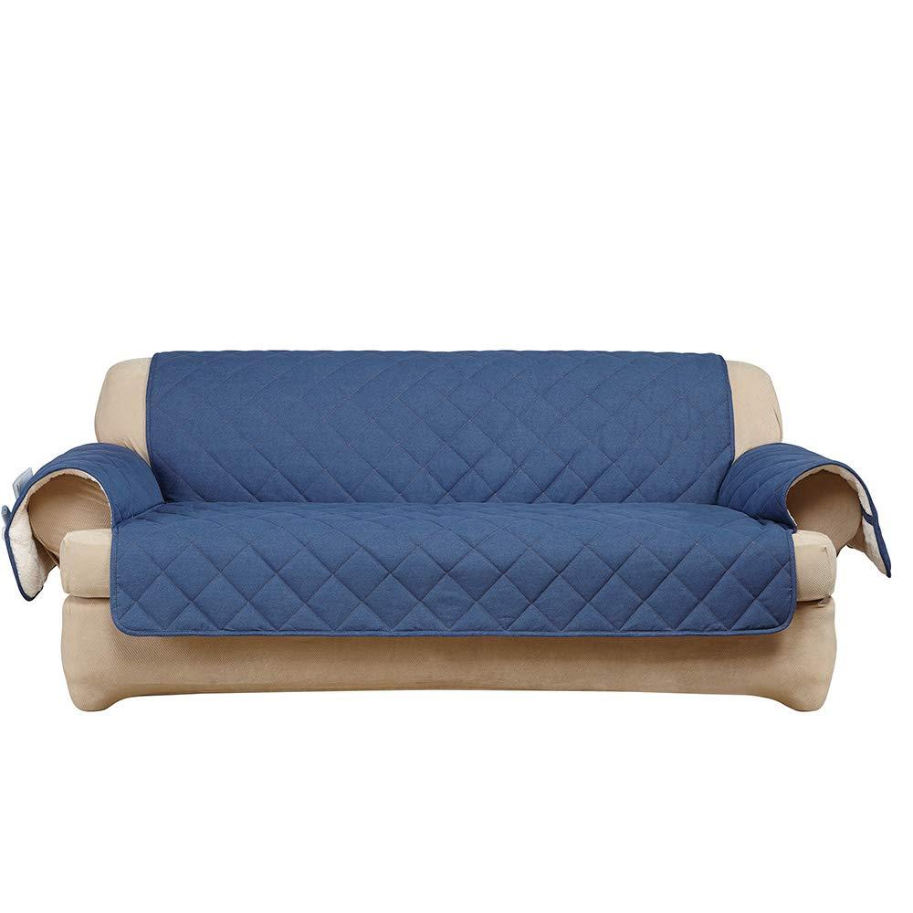 SF44536 Indigo Sure Fit Inc SureFit  Denim with Sherpa Fleece Loveseat Furniture Cover