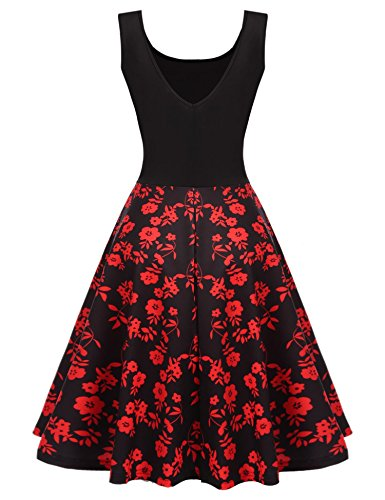 Brown Polka Floral Flower Swing and HOTOUCH Flare Dot Dress Back V Women Fit Sleeveless qWnZCwBIx7