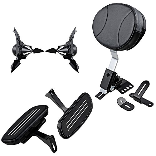 Set For 2008-2017 Harley Touring Slotted Seat 29.5mm Front Axle Nut Cover Bolt Kit and Adjustable Plug-In Driver Rider Backrest with Black Rear Floorboards Mounting Bracket