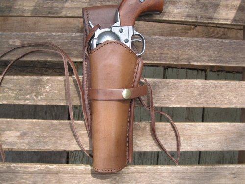 Western Gun Holster - Brown - Left Handed - for .38 Caliber single action revolver - Size 6