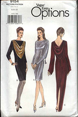(Vogue Sewing Pattern 9154 Misses Size 6-8-10 Easy Formal Evening Long Short Dress Gown)